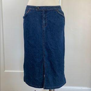 SO Blue Sigrid Olsen stretch Jean skirt